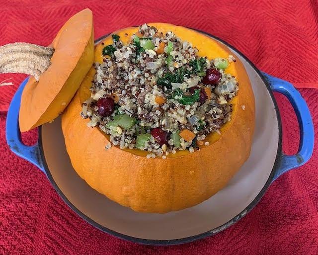 Quinoa, Veggie, and Herb Stuffed Pumpkin